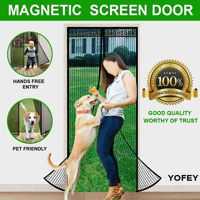 YOFEY Magnetic Screen Door Black with Heavy Duty Mesh Curtain and Full Frame