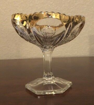 Vintage Clear Compote Glass w/ Gilt Highlights on Unbalanced Pedastel Immaculate