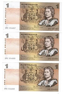 johnston stone one dollar note x 3 consecutive notes
