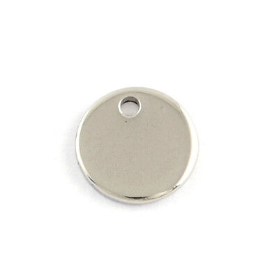 200pcs 304 Stainless Steel Tag Charms Round Smooth Stamping Blank Pendants 8x1mm