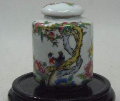 Chinese old Handmade painting Birds & peaches Pastel porcelain Tea caddy pot