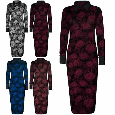 Womens Ladies Floral Roses Midi Dress Contrast Long Sleeve Collar Long Plus Size