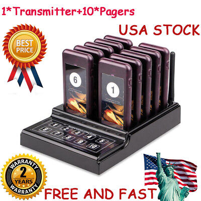 Restaurant Wireless Guest Paging Queuing Calling System Transmitter+10*Pagers