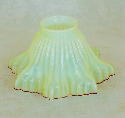 Original Antique Vaseline Glass Lamp Shade With Red Glass Frilled Edge