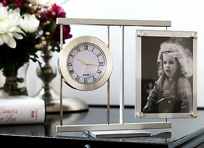 Aluminium Desk Table Clock With Picture Frame Home and Office Decor Metal Art