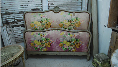 Beautiful French double bed with hand painted silk upholstery