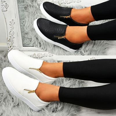 Ladies Womens Snake Skin Trainers Slip On Casual Plimsolls Sneakers Shoes Pumps