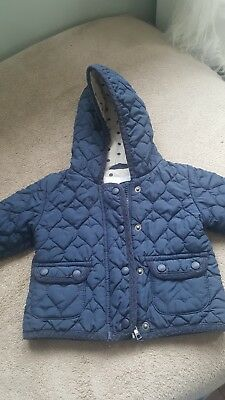 Next Girls Navy Quilted Jacket 6-9m