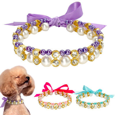 Crystal Pearl Dog Necklace Collar Bowknot Puppy Cat Dog Jewelry Accessories S~L