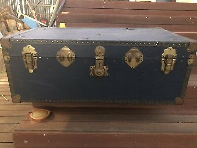vintage Steamer Trunk - storage/coffee table - blue vinyl - original condition