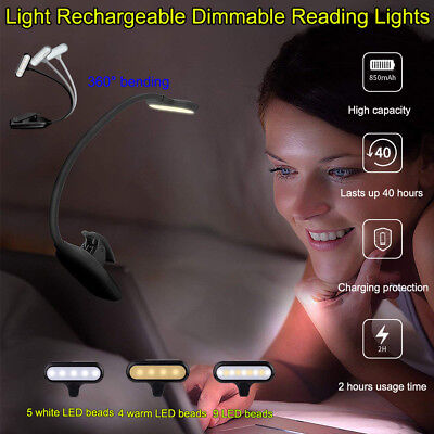 9 LEDs Rechargeable Clip On With 3 Lighting Modes Eye Protection Reading Lamp