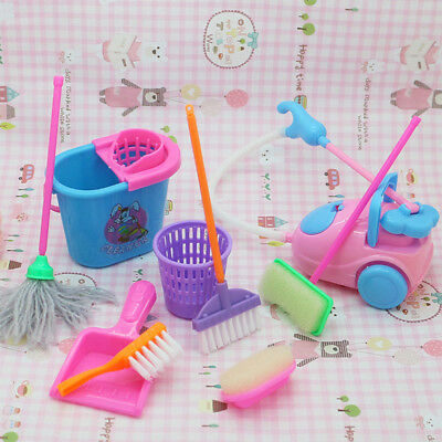 9pcs Color Random Toy Dolls Accessories Cleaning Room Tool Sits Mini Broom Mop