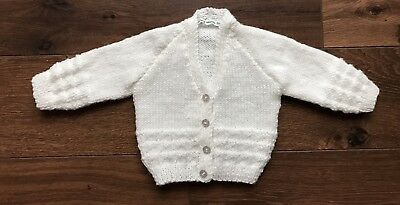 REDUCED NEW Hand Knitted Baby Cardigan In White Sparkle Wool Size 0-3 Months