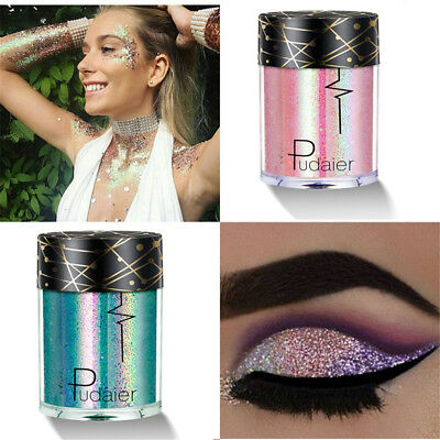 Pudaier Holographic Sequins Glitter Shimmer Pigment Eye Shadow Body Tattoos