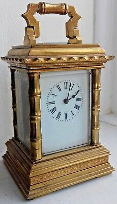Antique Brass Carriage Clock - SPARES OR REPAIR