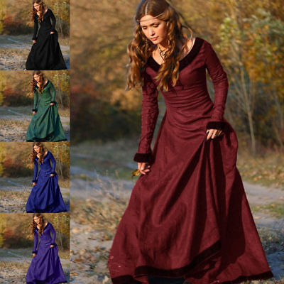 Women Vintage Medieval Victorian Long Sleeve Ball Gown Renaissance Gothic Dress