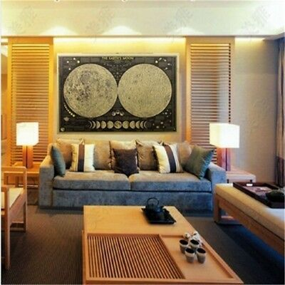 Vintage Kraft Paper Wall Chart Decal Earth's Moon World Map Poster Decor Nice