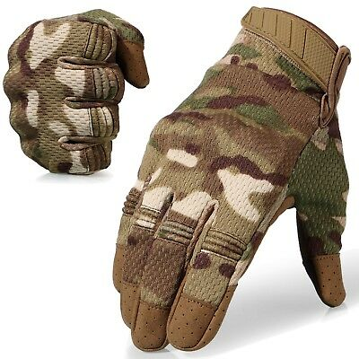 Multicam Camo Flexible Hard Knuckle Full Finger Tactical Gloves Hunting Bicycle