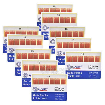 20XDental GAPADENT Gutta Percha Points 0.02 15-40# 120 Points Color Coded FDA CE