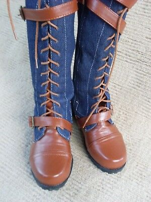 EXC. NEW DENIM BLUE & TAN KNEE LENGTH BOOTS, SIZE  38 - 7   or 6.5