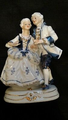 Vintage Blue White Couple Courting Figurine