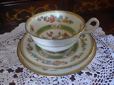 Vintage Style New Chelsea Exotic Bird Porcelain Cup & Saucer Trio Green