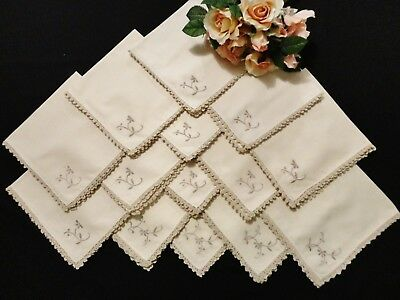 Vintage Napkins in Ecru with Crocheted Edges  14 Pieces