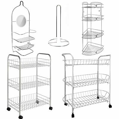 Satina Chrome Hanging Rectangle Corner Shower Caddy Bathroom Shelf Basket Tidy