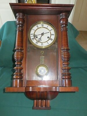 Antique Pre War Pendulum Mahoagany Wood Chiming Wall Clock, 1900's