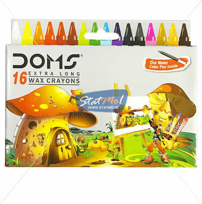 New Doms 16 Extra Long Wax Crayons Colour For Kids (One Water Colour Pen Inside)