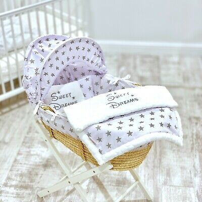 Personalised 5 Pc Luxury Moses Basket Cover Bedding Dressing Blanket Girls Boys