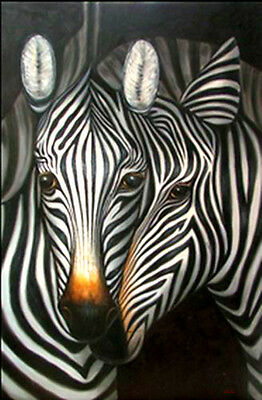 "Original Handmade Animals Oil Painting Africa Zebra Art Wall Decor 24""×36"" #1870"