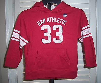 Gap Boy's Hoodie Size 4 5 Athletic Long Sleeve Cotton Top Red XS New