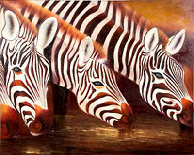 Original Handmade Animals Oil Painting Africa Zebra Art Wall Decor #1875