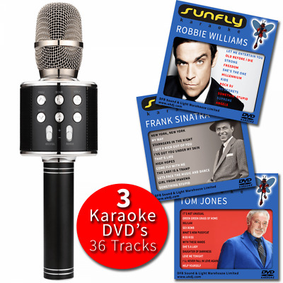 Black Karaoke Microphone Wireless with Built-In Speaker PA Voice Effect Inc DVDs