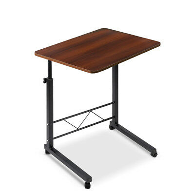 Adjustable Height Dark Wood Mobile Laptop Desk Twin Stand Bedside Computer Table