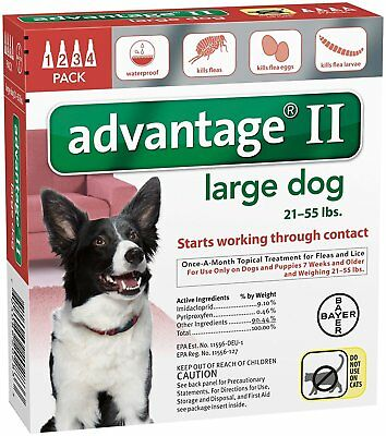 Advantage II for Large Dogs 21-55 lbs, 4 Month Supply USA EPA APPROVED
