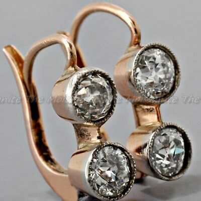 Two Stone 3.19 Ct Diamond Vintage Art Deco Antique 14K Gold Over Dangle Earring