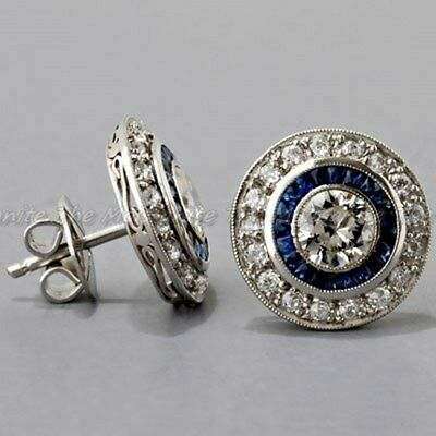 Sapphire Diamond Halo Antique Vintage Art Deco 14K Gold Over Stud Earring 1930