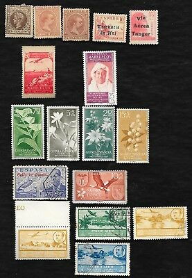 M-29 Lot of 17 stamps of spanish colonies of Tanger,Ifni,Puerto Rico,Morocco