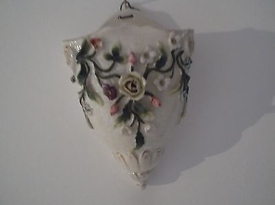 Wall Pocket Vase Vintage Edwardian cream basket, leaves and flowers in relief