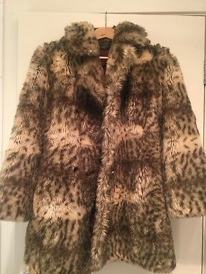 Vintage Faux Fur Leopard Print Coat / Grunge / Rock / 90's (Small to Medium)
