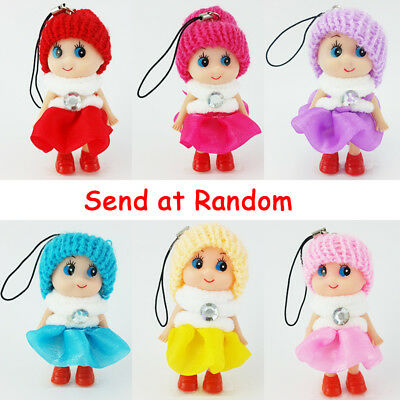 3''  Princess Doll With Knit Hat Phone Car Key Ring Paillette Dress Toy Kid Gift