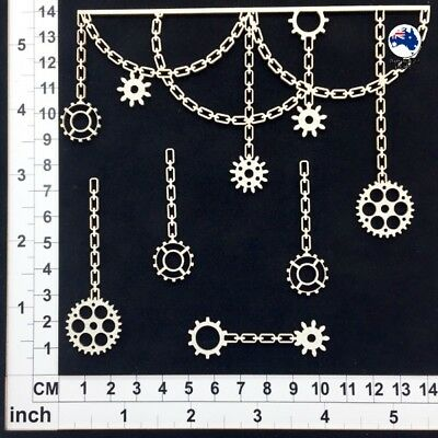 Chipboard Embellishments for Scrapbooking, Cardmaking - Chain and Gears  15180