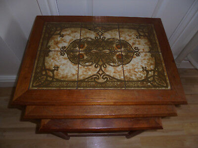 Nest of 3 coffee tables vintage Wood/ Tile tops 1970's vgc pick up Purton Wilts