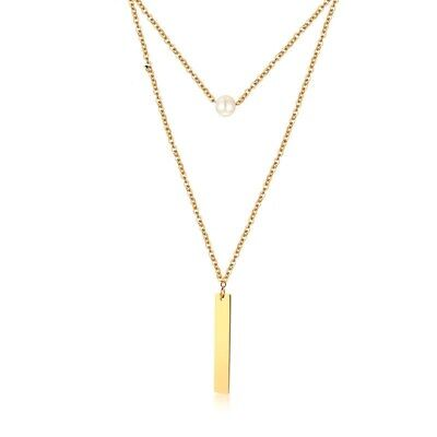 18K Gold Elegant Stainless Steel Pendant Women White Pearl Double Layer Necklace