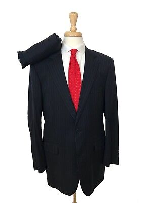 Brooks Brothers 1818 Madison 42L-34x31 Navy Blue Suit Pinstripe Mens Business
