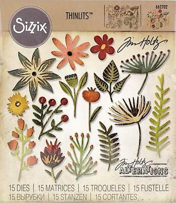 Tim Holtz Sizzix Cut Emboss & Stencil Thinlits Dies ~Funky Floral #3 Code 662702