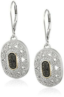 Women's 14k Yellow Gold/925 Silver black Pendant Art Deco Style Drop Earrings