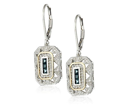 Women 14k Yellow Gold/925 Silver sapphire Pendant Art Deco Style Drop Earrings